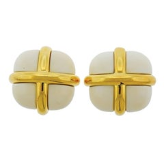 Seaman Schepps White Stone Gold Earrings