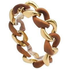 Seaman Schepps Wood and Gold Curb-Link Bracelet