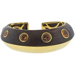 Seaman Schepps Wood Citrine Gold Cuff Bracelet
