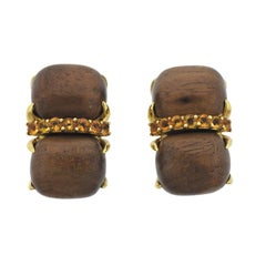 Seaman Schepps Wood Citrine Gold Earrings