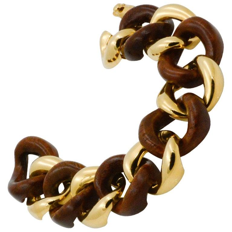 Seaman Schepps Wood Curb Link 18 Karat Yellow Gold Bracelet For Sale