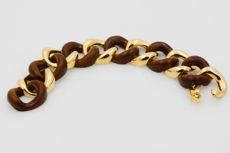 Seaman Schepps Wood Curb Link 18 Karat Yellow Gold Bracelet For Sale 4