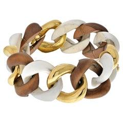 Seaman Schepps Wood, White Ceramic and Gold Link Bracelet