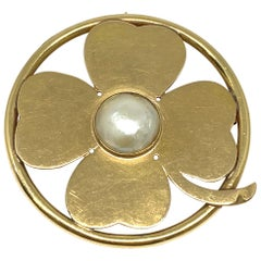 Seaman Schepps Yellow Gold and Mobe Pearl Clover Pendant and Brooch