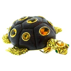 Seaman Schepps Yellow Gold Turtle Clip Brooch Pin with Citrine and Wood