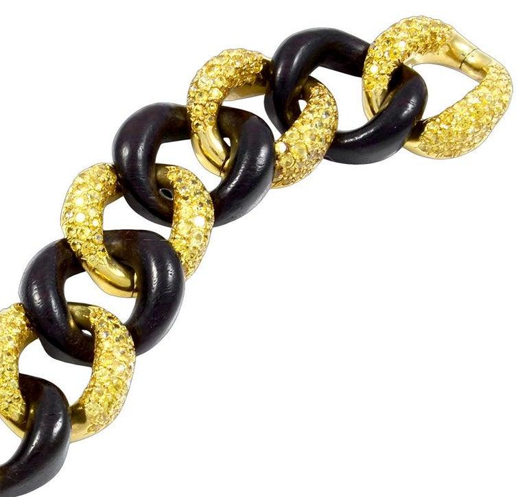 Round Cut Seaman Schepps Yellow Sapphire, Wood Link Bracelet For Sale