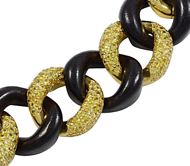 Seaman Schepps Yellow Sapphire, Wood Link Bracelet In Good Condition For Sale In New York, NY