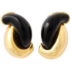 Seamann Shepps Carved Black Jade Gold Ear Clips
