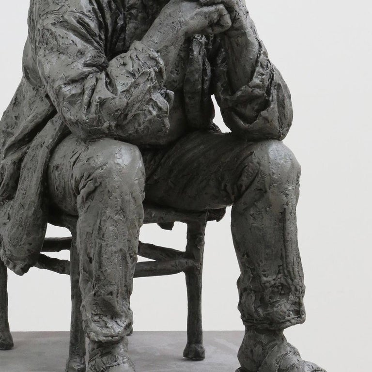 Seated Man - Gold Figurative Sculpture by Sean Henry