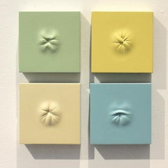 """4 Pastel Ani (Calm Array)"" hand carved painted wood sculpture by Sean O'Meallie"