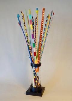 """""""Vase of Colorful Sticks"""" (LARGE) original hand carved wooden sculpture"""