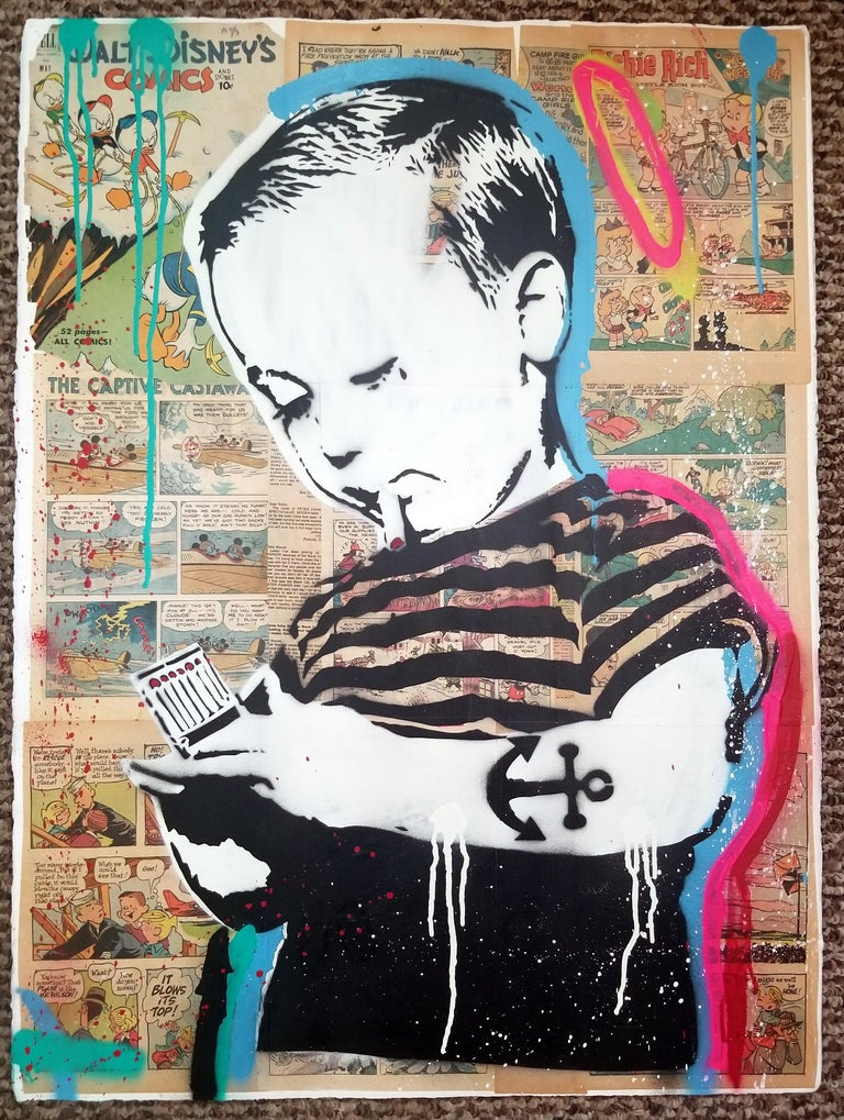 Young & Influenced Boy mixed media on paper Stencil Painting Vintage Comic Strip  About the artist: LAYER CAKE, (aka Sean Sullivan) New York born, is a multi -faceted artist involved in music production, clothing, and his signature style stencil