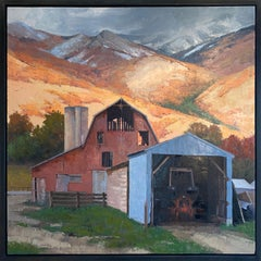 The Sliver of Light (Sunset, snow-capped mountains, old red barn, salmon, blue)