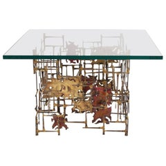 Seandel Brutalist Brass, Copper & Steel Side Table