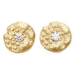 """""""SeaQuin"""" 0.26 Carat Diamond Stud Earrings in 18 Karat Gold"""