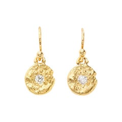 """Seaquin"" and 0.20 Carat Diamond 18 Karat Yellow Gold Dangle Earrings"