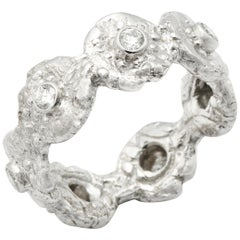 """Seaquin"" Band Ring with 0.48 Carat Diamonds in 18 Karat White Gold"