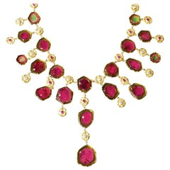 """SeaQuin"" Bib Necklace of Watermelon Tourmaline, Pink Sapphires and Diamonds"