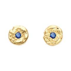 """""""Seaquin"""" 0.10 Carat Sapphire Stud Earrings in 18 Karat Gold"""
