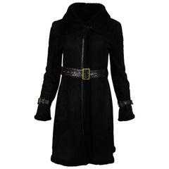 Searle Black Moto Shearling Coat W/ Belt Sz XS