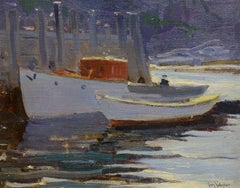 """Monhegan Harbor,"" Sears Gallagher, oil on board, Maine Coast, Artist Colony"