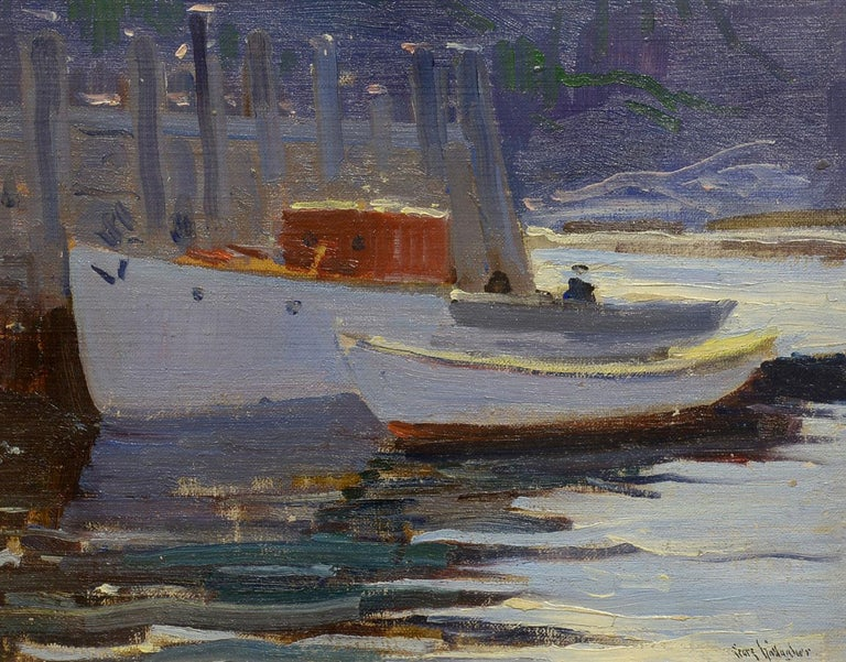 """""""Monhegan Harbor,"""" Sears Gallagher, oil on board, Maine Coast, Artist Colony - Painting by Sears Gallagher"""