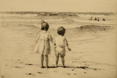 """Children by the Shore,"" Sears Gallagher, etching, realist, beach, ca 1900-1910"