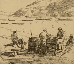 """""""Cleaning Fish, Monhegan Harbor,"""" Sears Gallagher, realist, etching"""