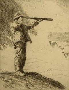 """Coast Guard,"" Sears Gallagher, etching, realist, ca 1910-20"