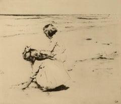 """Gathering Shells,"" Sears Gallagher, etching, realist, beach scene, children"