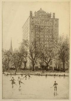 """Ice Skating, Boston Public Garden,"" Sears Gallagher, etching, realist"