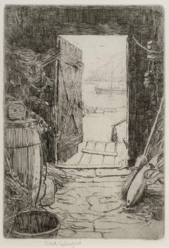 Monhegan Fish House, Sears Gallagher, etching, Maine island, artist colony