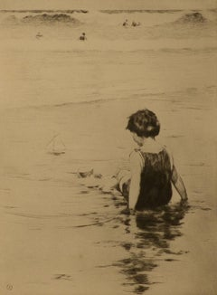 """Playing at the Beach,"" Sears Gallagher, etching, realist, beach scene, children"
