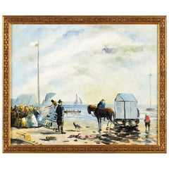 Seascape Oil Painting on Canvas by P. Denison, France, Early 1900s