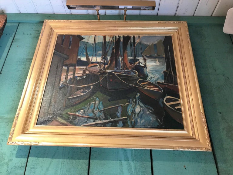 Seascape Painting Oil on Canvas by William Lester Stevens American Artist Sea In Good Condition For Sale In West Hollywood, CA