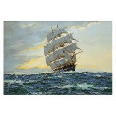 "Seascape Painting ""Sunrise - North Atlantic"" by Henry Scott 'English, 1911-2005'"