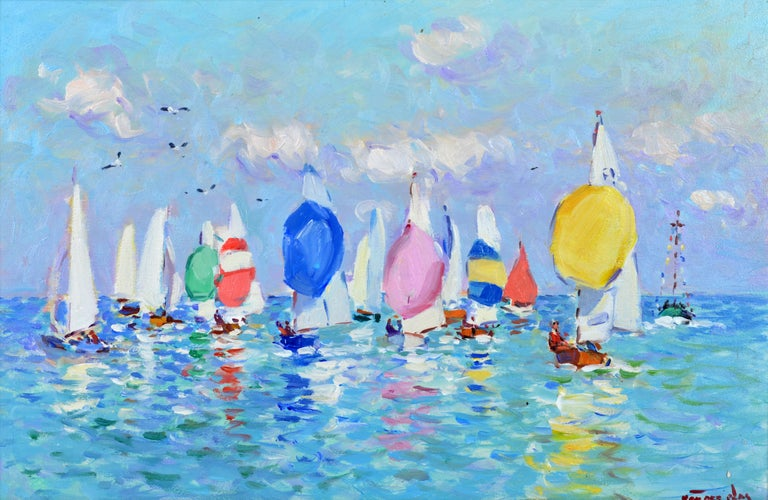 'Summer Regatta' By Niek van der Plas, Dutch b. 1954. Dimensions: 11 x 17 in. without frame, 21 x 27 in. including frame. Oil on panel. Signed in lower right corner. Housed in an antique 19th century giltwood frame.  Niek van der Plas continues to