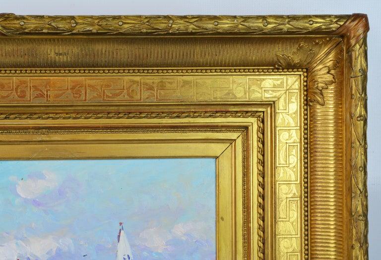 'Summer Regatta' by Niek van der Plas, Well Listed Dutch Impressionist In Good Condition For Sale In Ft. Lauderdale, FL