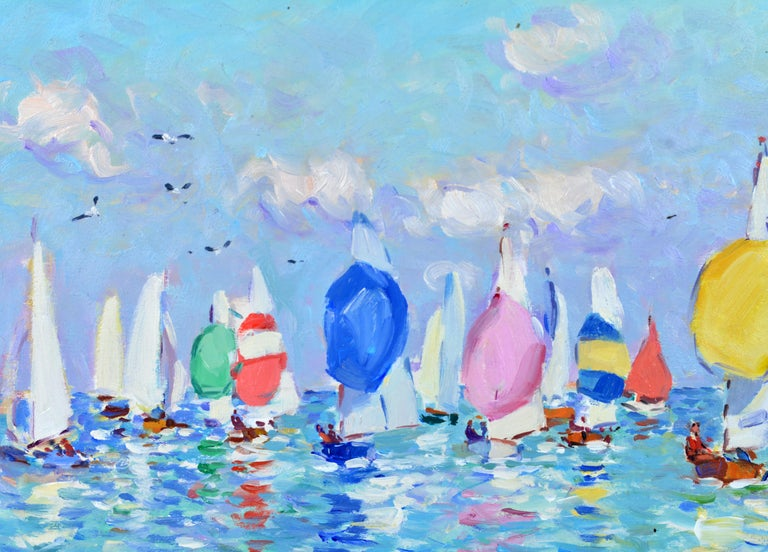 Contemporary 'Summer Regatta' by Niek van der Plas, Well Listed Dutch Impressionist For Sale