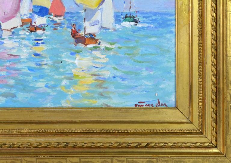 Wood 'Summer Regatta' by Niek van der Plas, Well Listed Dutch Impressionist For Sale