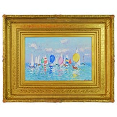'Seascape with Many Boats' by Niek van der Plas, Well Listed Dutch Impressionist