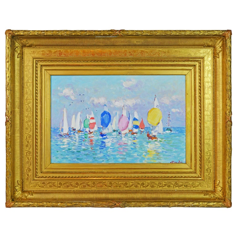 'Summer Regatta' by Niek van der Plas, Well Listed Dutch Impressionist For Sale