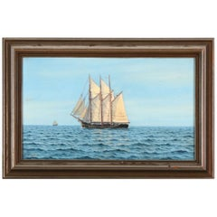 Seascape with Sailing Ships on a Calm Day, Oil on Canvas