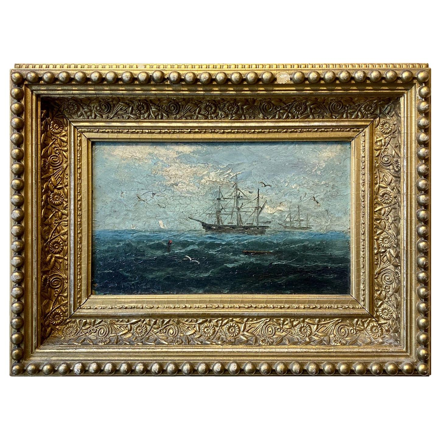 Seascape with Whale Ship, by J.H. Appleby, circa 1880