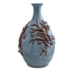 Seashell and Coral Ceramic Vase by Ceccarelli
