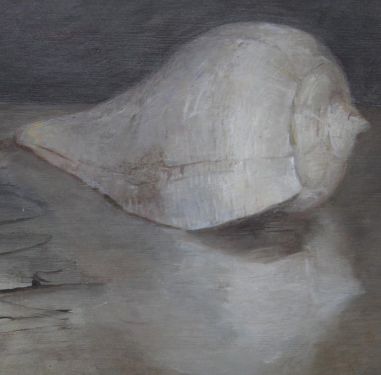 Modern Seashells and Sand Dollar, Oil on Panel, Still Life Painting by Helen Oh For Sale