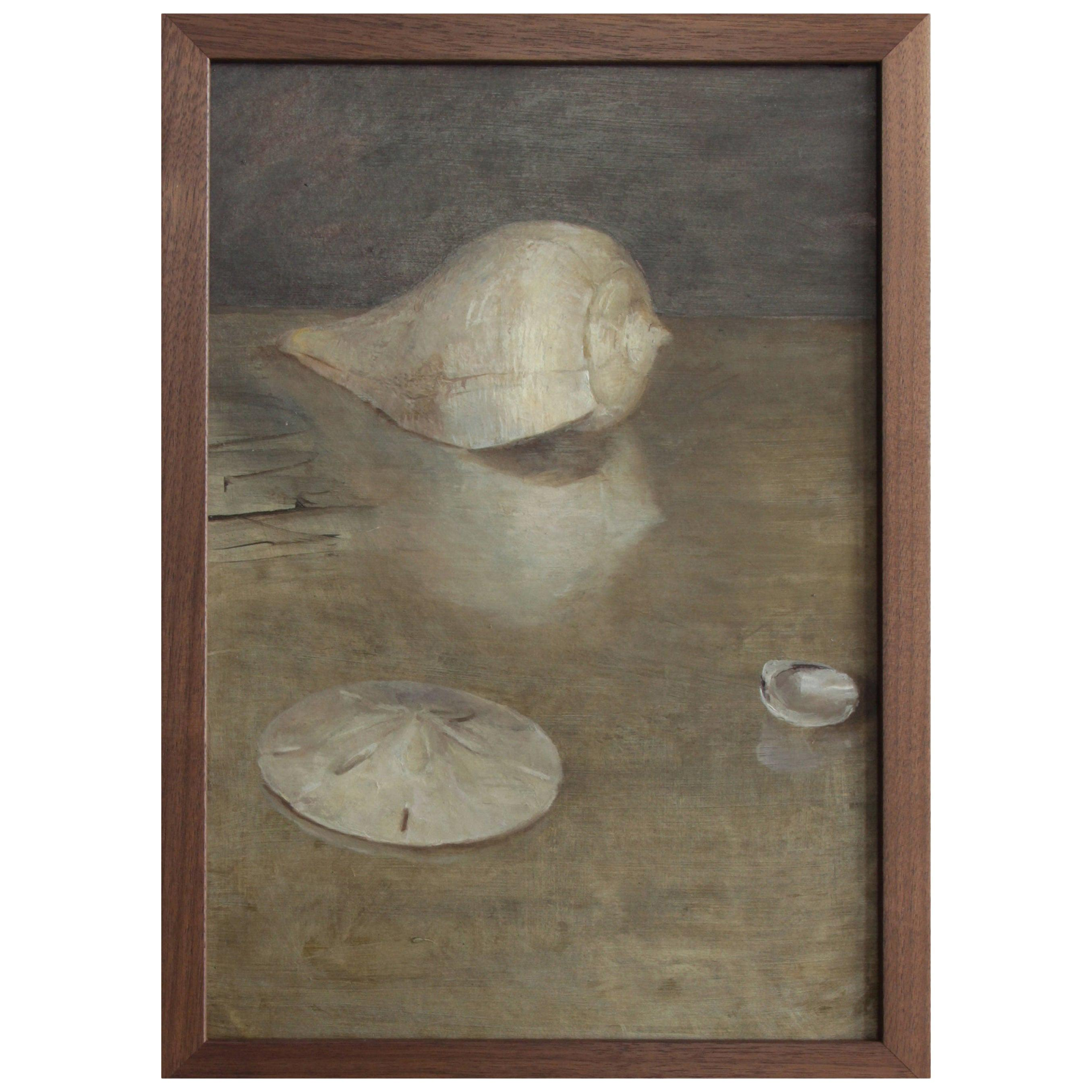 Seashells and Sand Dollar, Oil on Panel, Still Life Painting by Helen Oh