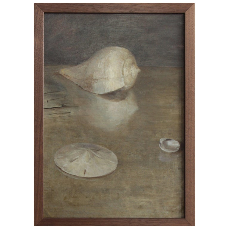 Seashells and Sand Dollar, Oil on Panel, Still Life Painting by Helen Oh For Sale