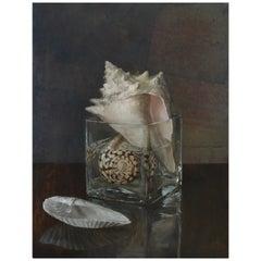 Seashells in Jar, Oil on Silver Leaf on Copper Panel Still Life Oil Painting