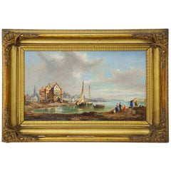 """Seaside Fishing Village"", Antique Landscape Oil Painting, 19th Century"